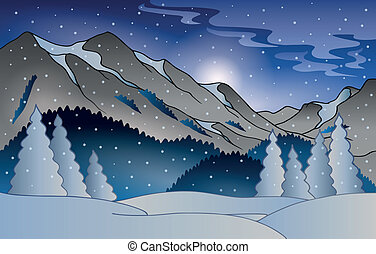 Winter mountain landscape - eps10 vector illustration.
