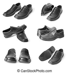 collection of man shoes - collection of mans black shoes...