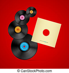 Vector Vinyl Record Discs on Red Background