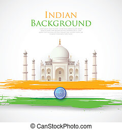 Taj Mahal with Tricolor India Flag - illustration of Taj...