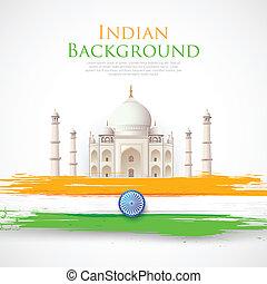 Taj Mahal with Tricolor India Flag