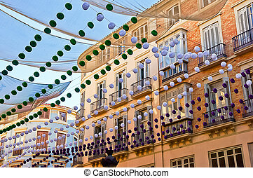 Malaga in fair, Spain Larios street view