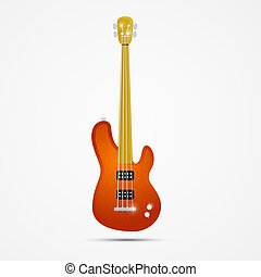 Abstract Bass Guitar - Abstract Orange Bass Guitar Isolated...