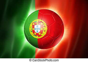 Soccer football ball with Portugal flag