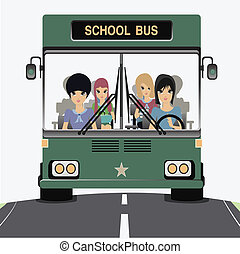 School bus. - School bus with children in the car.
