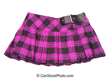 short skirt - dress. rumpled checkered short skirt isolated...