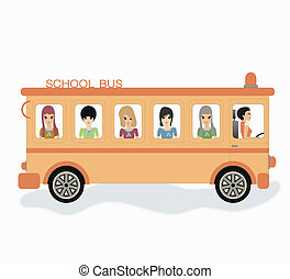 School bus -  School bus with white background.