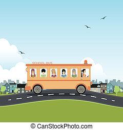 School bus. - School bus with a city backdrop.