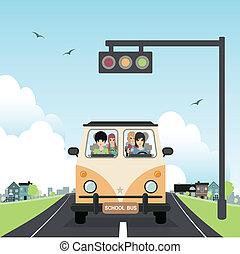 School bus. - School bus with children in the car.