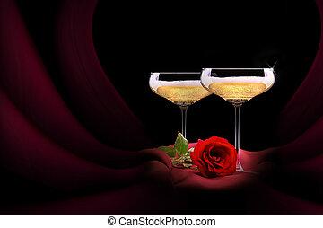 champaña, vidrio, negro, rojo, seda, flor