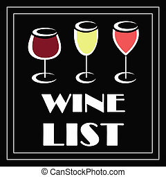 Wine list - Illustration of wine list on black background