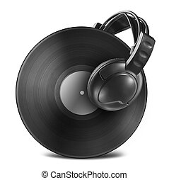 Black vinyl record disc with headphones isolated on white