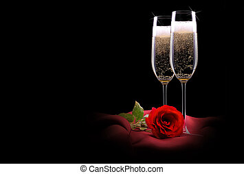 flor, vidrio, negro, champaña, seda, rojo