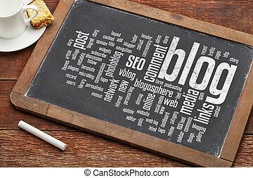 blog word cloud on blackboard - cloud of words or tags...
