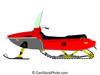 Snowmobile silhouette on a white background