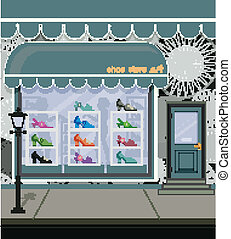 Shoe store on the city streets