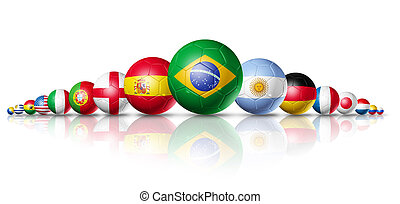 Brazil 2014, soccer football balls group with teams flags -...