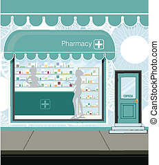 Pharmacy at the street in city