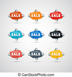 Colorful Vector Sale Splashes Isolated on Grey Background