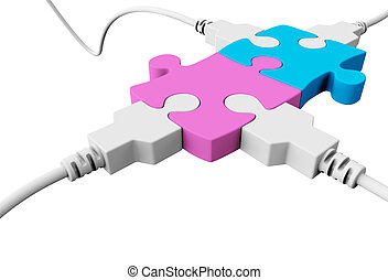 Four usb cables will connect two pieces of puzzle - Two...