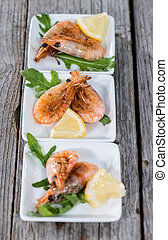 Fresh Prawns - Fresh made Prawns on wooden background