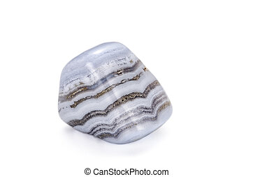 Blue lace agate polished stone on white backgroud