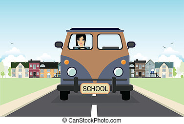 Woman driving a van.