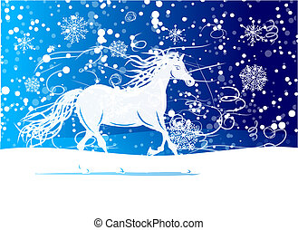 White horse sketch for your design Symbol of 2014 year