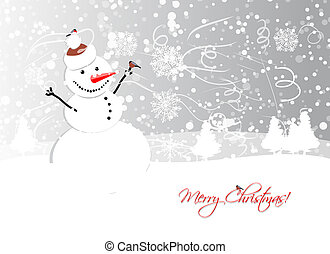 Christmas card design with funny snowman