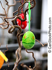 Easter eggs hanging on the tree - Mix of beautiful handmade...