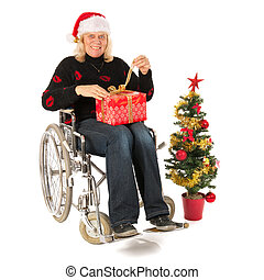 Mature woman in wheel chair in Christmas time - Chirstmas...