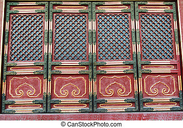 Doorway in historical architecture in Forbidden City in...