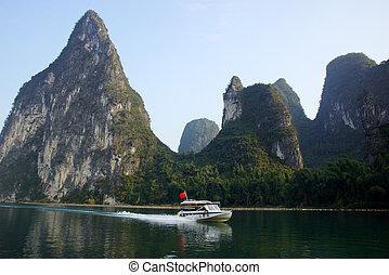 Yu Long river landscape in Yangshuo, Guilin, Guanxi...