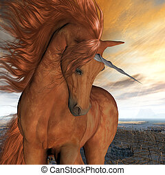 Burnt Sky Unicorn - A beautiful chestnut unicorn prances...