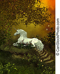 Mystical Unicorn - A beautiful white unicorn lays underneath...