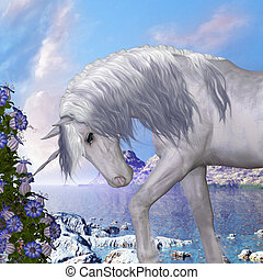 Unicorn and Blue Bell Flowers - A beautiful white unicorn...