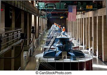 Hoover Dam Powerhouse Generators row