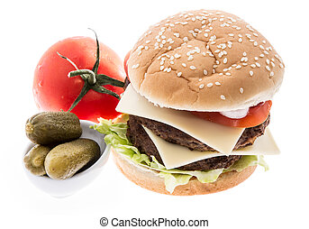 Double Burger with ingredients