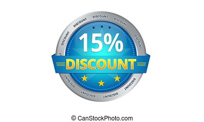 15 percent Discount - Blue Animated 15 percent discount icon