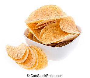 Heap of Chips in a bowl isolated on white background
