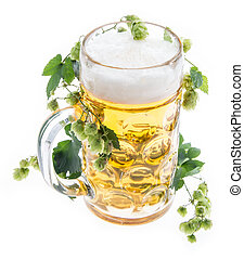 Mug of Beer with Hops on white