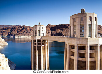 Hoover Dam Towers on Colorado River, Lake Mead