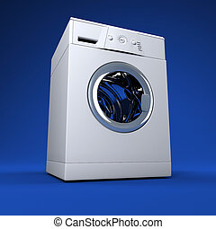 whasing machine blue background - fine 3d image of classic...
