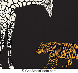 Inverse tiger and giraffe camouflag - vector illustration of...