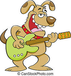 Cartoon Dog Playing a Guitar - Cartoon illustration of a dog...