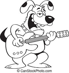 Cartoon Dog Playing a Guitar - Black and white illustration...