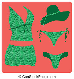 lingerie - a green set of swimsuit with green panties and a...