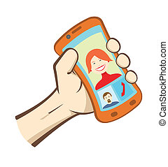 Vector hand holding smart phone - Vector hand holding smart...