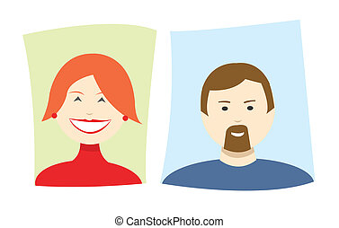 Vector simple cartoon icons of a woman and a man - Vector...