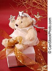 angel teddy bear sitting on gift box - angel teddy bear...